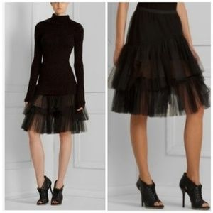 BCBG MAXAZRIA NWOT Black Tulle Ruffled Petticoat